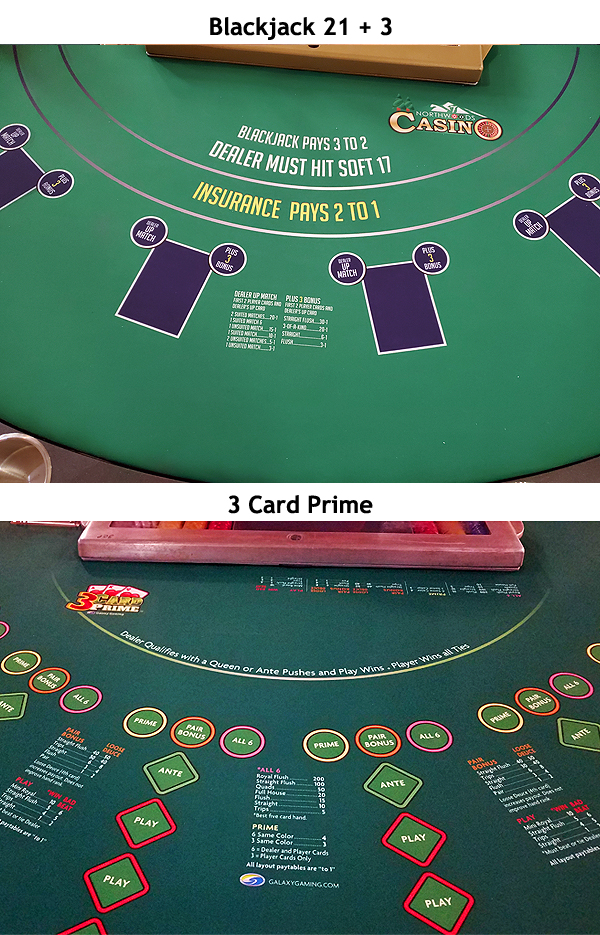 Blackjack 21+3 and 3 Card Prime at Northwoods Casino LLC, NH